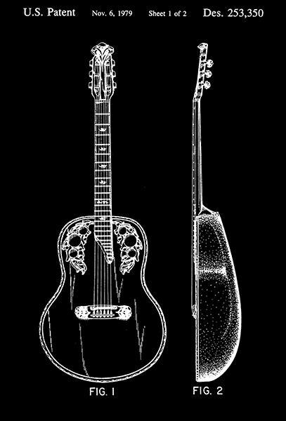 Primary image for 1979 - Guitar - C. H. Kaman - Patent Art Poster
