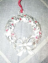 "2005 AVON PEWTER ""RED RHINESTONE WREATH"" CHRISTMAS ORNAMENT image 1"
