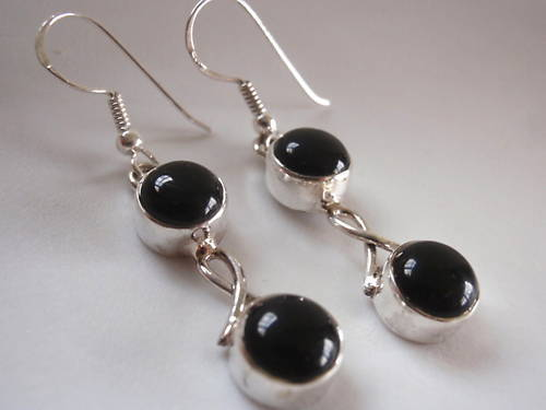 Primary image for New Black Onyx Double Round 925 Silver Dangle Earrings