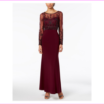 Adrianna Papell Women's Crew Neckline Long Length Beaded Gown Dress - $51.39