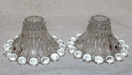 Vintage (2) Anchor Hocking Candlewick Boopie Style Candle Holders Clear ... - $14.99