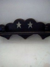 BLUE 3 HEART SHELF WITH CANDLE HOLDER ON EACH END, STARS, RUSTIC STYLE.... - $8.00