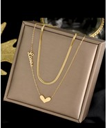 Titanium steel New fashion jewelry 2 layer heart love choker snake neckl... - $13.00+