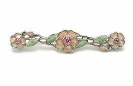 Vintage 60's Silver Tone Enamel Inlay Pink Rhinestone Flower Bar Brooch Pin - $17.82
