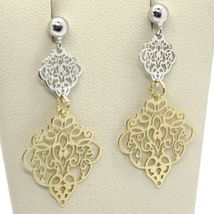 18K YELLOW WHITE GOLD PENDANT EARRINGS, DOUBLE WORKED RHOMBUS, MADE IN ITALY image 3