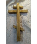 Handmade Cedar Russian Cross . Folk Art. Handcrafted - $34.65