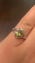 STERLING SILVER NATURAL GENUINE 1/2 CT GREEN PERIDOT & DIAMOND RING - SI... - $39.99