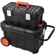 Tool Box Chest Plastic Bin Rolling Wheel Storage Organizer Car Mechanic ... - $62.36