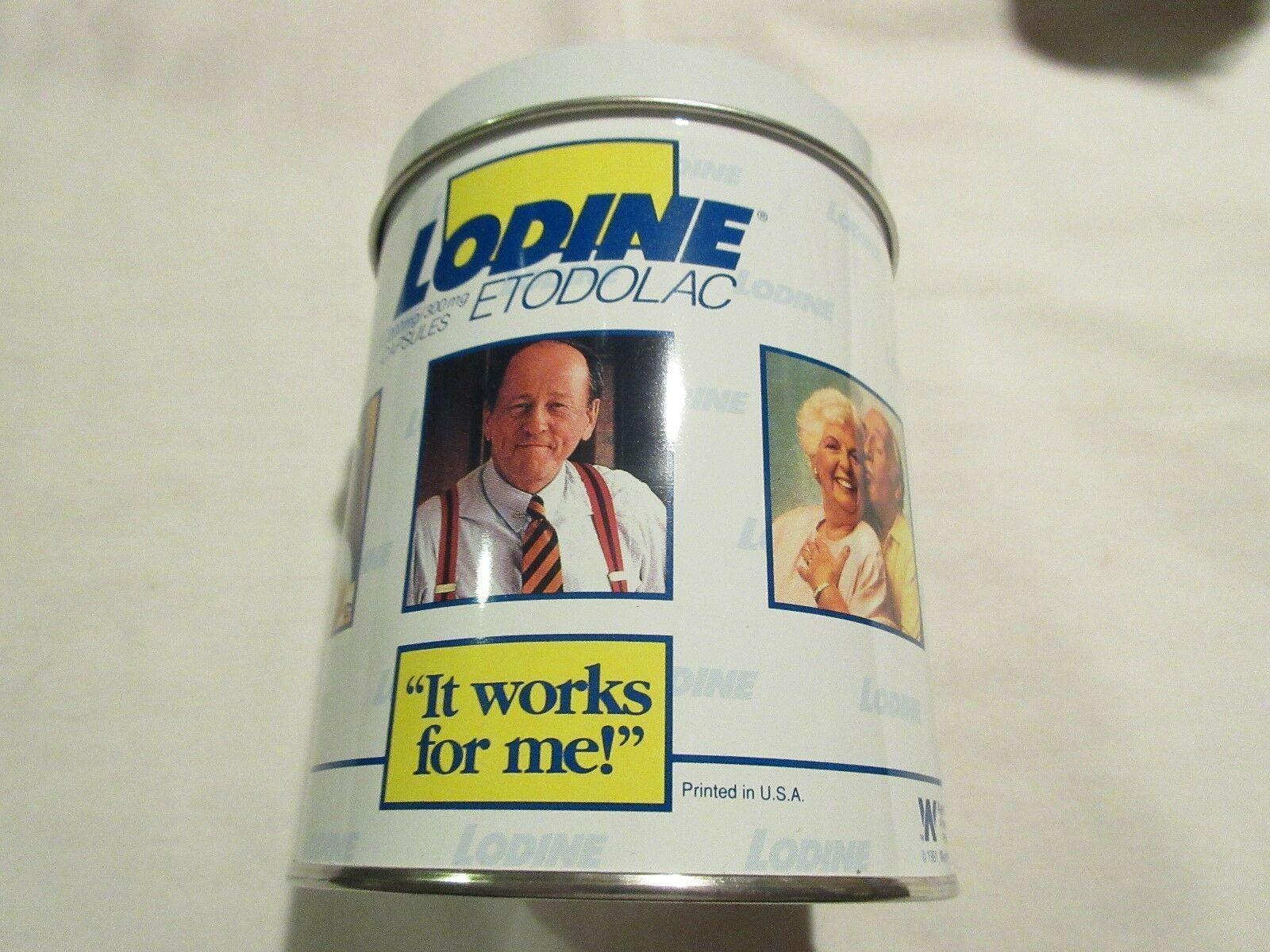 "Rx , Pharmacy , Lodine , Ayerst Labs , A.H. Robbins , 5"" X 4"" X 4"" ,TIN ,Vintage"