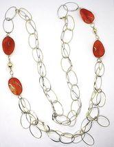 Halskette Silber 925, Karneol Oval Gewellt, Doppel Kette, Lang 110 CM image 2