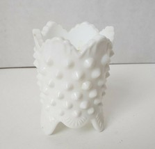Fenton White Hobnail Milk Glass 3-toed Toothpick Holder Scalloped Edge - $9.98