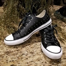 WOMEN'S CONVERSE Studded Black Leather Chuck Taylor All Star Low Sneaker... - $59.95