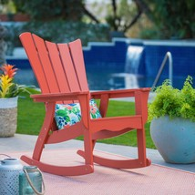 Terra Cotta Orange Adirondack Style Rocking Chair Outdoor Patio Porch Ro... - $185.42
