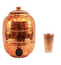 Pure Copper 6.5 ltr. Water Pot Storage Tank With Tap Kitchen Home Garden... - $117.56