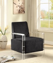 Meridian 503 Liam Accent Chair in Black Acrylic Arms Contemporary Style