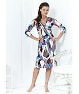 EUROPEAN DRESS 3/4 SLEEVES LIGHT FABRIC V-NECK GEOMETRIC PRINT S M L XL - $89.00
