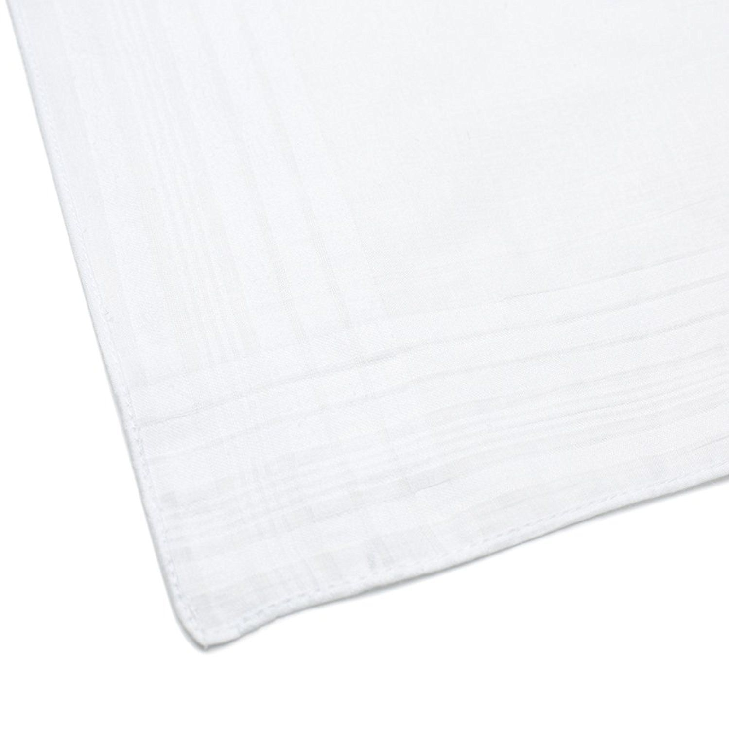 """Classic Mens Handkerchiefs 100% Cotton Solid White with Stripe 17"""" Large 12pc image 5"""