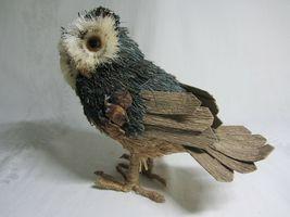 2 Owl Bird Figures Sisal Fiber Straw & Wood Vtg Figurines Natural Dried Rustic image 6