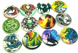 12 DRAGONS Buttons Badges One inch Pinbacks Rainbow Fantasy Tattoo Medieval - $7.99