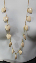 Vintage Long Gold tone Off-White Plastic Heart Charms Necklace   - $34.65