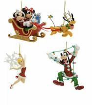 Disney Parks 4 Pc Ornament Set Tinker Bell Mickey Minnie Sleigh Pluto Go... - $29.69