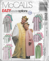 McCall's Patterns #2499-Girl's Robe-Nightgown-Top-Pull On Pants-Sizes  Med-Lrg - $5.86
