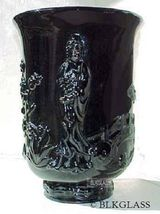 Fenton Ebony Jet  Black Glass Empress Vase, 3-D Oriental Image,Verlys Kuan Yin - $63.59