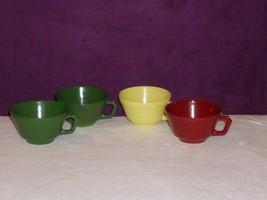 Set 4 Hazel Atlas Glass Colored CUPS Moderntone Platonite Red Green Yellow - $19.79