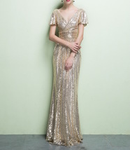 GOLD Maxi Sequin Dress Cap Sleeve High Waist Retro Style Maxi Long Sequin Dress image 4