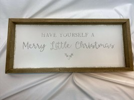 Have Yourself A Merry Little Christmas Sign White Silver Sparkles Natura... - $11.99
