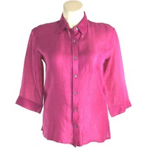 Chico's 1 Med Shirt Top Linen Silk Raspberry Pink 3/4 Sl Button Side Sli... - $17.95