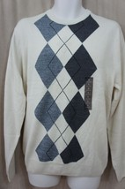 Geoffrey Beene Men's Sweater Sz L Vanilla Argyle Pullover Crew Neck Casual - $26.35