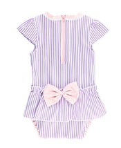 RuffleButts Infant/Toddler Girls Peplum Skirt One Piece Rash Guard Swims... - $29.60