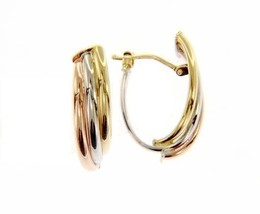 18K YELLOW WHITE ROSE GOLD OVAL HOOP EARRINGS SIZE 22 MM x 12 MM MADE IN ITALY image 1