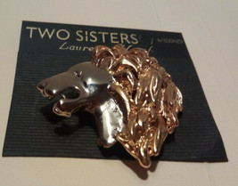 Two Sisters -Medici Handcrafted Lion Head Pin / Brooch (Two Toned) - $19.75