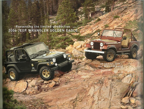 2006 Jeep WRANGLER GOLDEN EAGLE Edition brochure catalog folder US 06 CJ