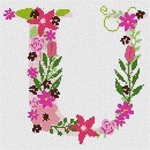 The Letter U Flowering (Large) Needlepoint Canvas - $64.35