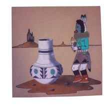 Navajo Sand Painting Signed Native American Art Original Kachina 388 - $34.65