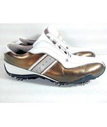 FootJoy LoPro Collection Womens 9M Golf Shoes Cleats Leather White Gold - $29.95