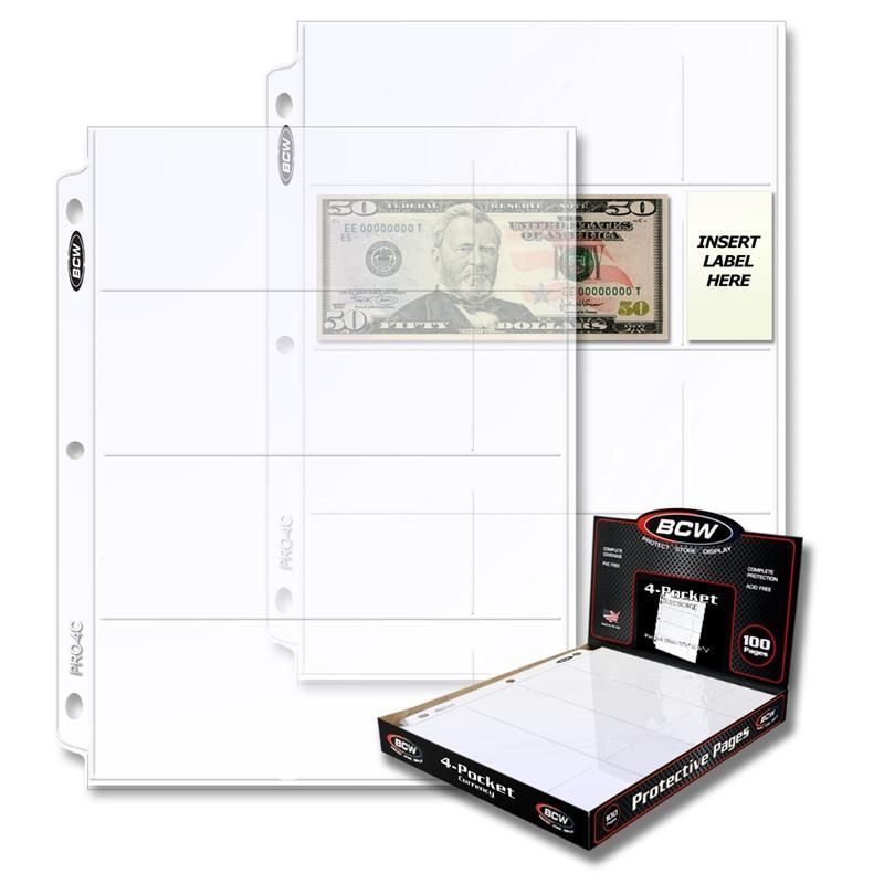 4 Boxes of 100 4 Pocket Currency Page