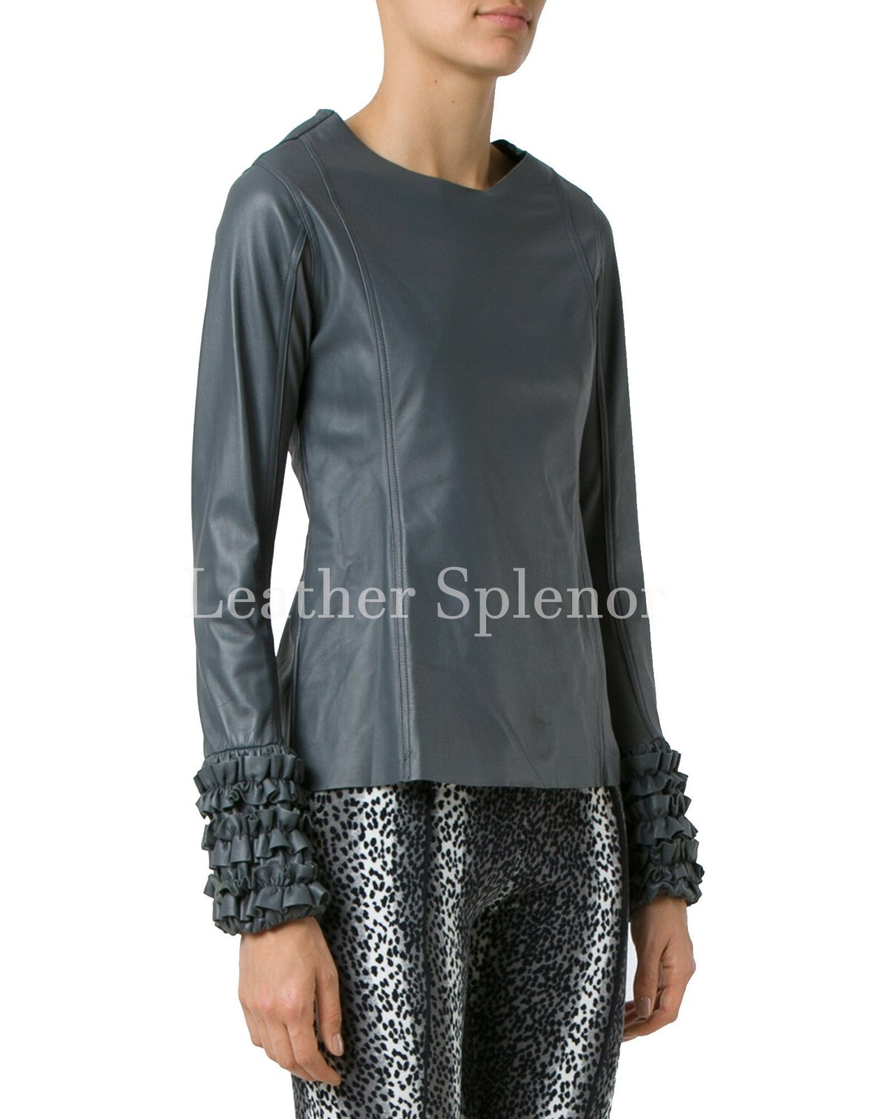 Ruffle Sleeves Hem Women Leather Top