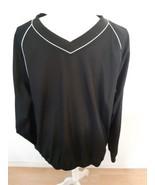 Footjoy Golf Windbreaker Pullover Jacket Size Large Solid Black Long Sle... - $29.65