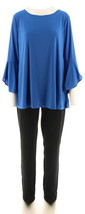 Women with Control Tall Top Slim Ankle Pant Set True Sapphire L NEW A302300 - $36.61