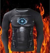Long Sleeve Men T-shirt 3D Printed Fitness Tee High Elastic Activewear Tops - $5.85