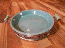 Old Vintage Bakeware Pie Cake Casserole Pan Plate Green Metal Holder Han... - ₨4,108.15 INR