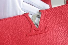100% Authentic Louis Vuitton CAPUCINES MM Bag Red Taurillon Python image 3