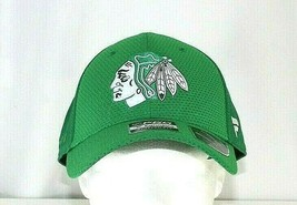 Chicago Blackhawks NHL  St Patrick's Day Green Baseball Cap Stretch Fit L/XL - $28.39