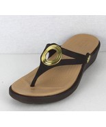 Crocs women's sandals shoes wedge brown rubber size 6 - $20.27