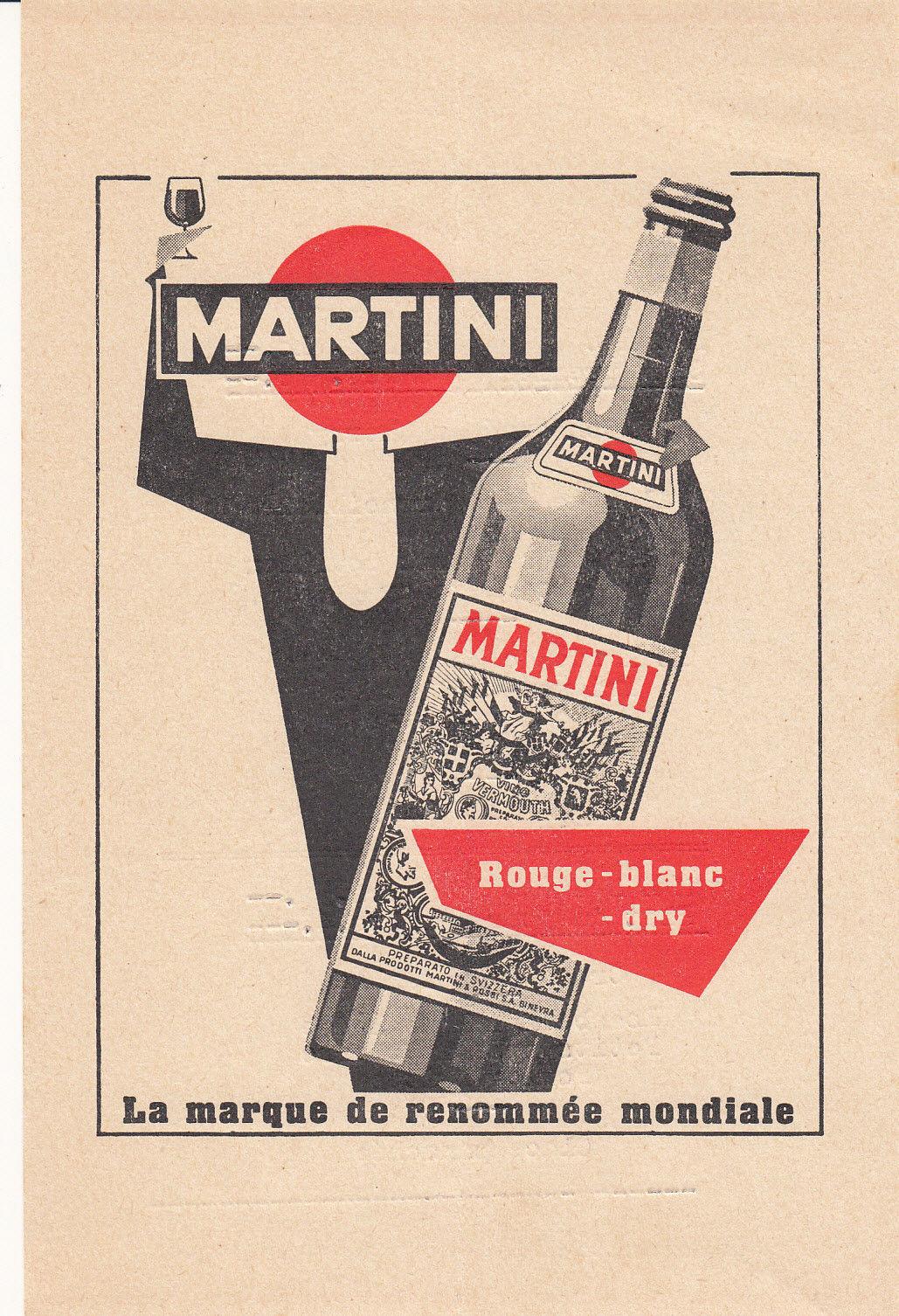 La Marque de Renommee Mondiale Martini Menu Vermouth 1940's