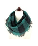 Green & Black Buffalo Plaid Woven Infinity Scarf - £4.65 GBP